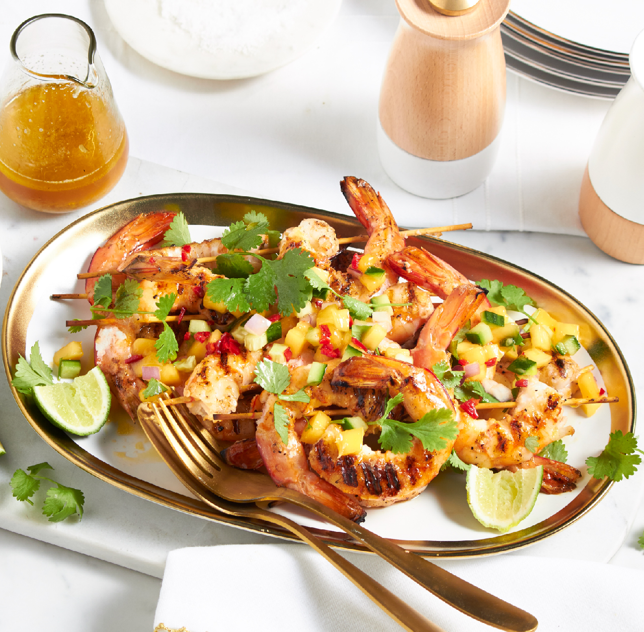 Easter Recipes: BBQ grilled prawns with mango salsa recipe